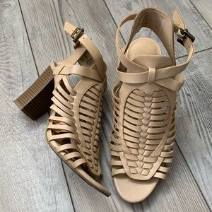 American Eagle strappy faux leather heels